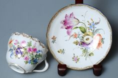 1830s Biedermeier Authentic Antique Meissen Porcelain Cup Saucer Rich Painting | eBay