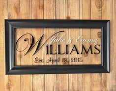 Glass Personalized Family Name Sign Picture Frame Established Family Sign - wooden signs - Familie Personalized Picture Frames, Personalized Wedding Gifts, Personalized Products, Personalized Signs, Glass Picture Frames, Picture Frame Crafts, Picture Wall, Established Family Signs, Family Name Signs