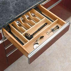 Wood Kitchen Drawer Organizer Inserts, Rev-a-Shelf Series Cutlery Drawer Insert, Drawer Inserts, Drawer Dividers, Diy Drawer Organizer, Drawer Organisers, Cabinet Organizers, Kitchen Utensil Organization, Kitchen Storage, Storage Organization