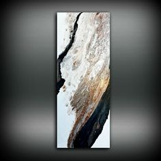 Copper Black and White Painting 16 x 40 Acrylic by LDawningScott
