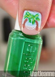 palm tree nails w/hammock Creative Makeup, Creative Nails, Get Nails, Hair And Nails, Vacation Nail Art, Palm Tree Nail Art, Tropical Nail Art, Cruise Nails, Stylish Nails