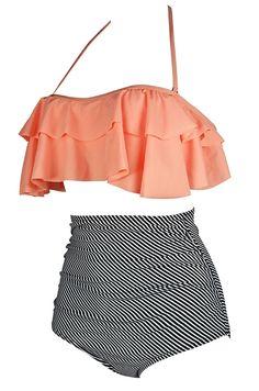 1f247ec2bed Women's Clothing, Swimsuits & Cover Ups, Bikinis, Sets, Women's Retro Boho  Flounce Falbala High Waist Bikini Set Chic Swimsuit(FBA) - Orange Pink -