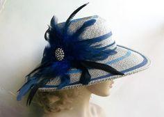 Wide+Brim+Blue+Hat+Derby+Hat+Kentucky+Derby+Hat+by+GlitzOfFlorida,+$68.00