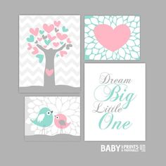 Mint and pink Baby Girl Nursery art prints Set of by babyartprints