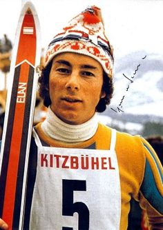 Ingemar Stenmark, Swedish Oympian and the most awesome downhill skier Sweden's ever known. The hats he wore were his trademark for good luck during his races and those hats became very popular...