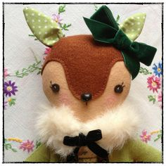 Mistletoe  Handmade Bambi Deer Artist Doll by thevanillasquirrel, £34.50