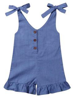 Trendy solid boho romper for toddler girls. Baby Girl Frocks, Frocks For Girls, Kids Frocks, Little Girl Outfits, Little Girl Fashion, Little Girl Dresses, Toddler Outfits, Kids Outfits, Kids Fashion