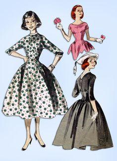 1950s Original Vintage Butterick Pattern 8108 Empire Waist Party Dress Size 32 B