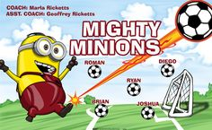 Mighty Minions digitally printed vinyl Soccer sports team banner. Made in the USA and shipped fast by Banners USA. http://www.bannersusa.com/art/templates_2/digital/banners/VBS_BB_banners.php