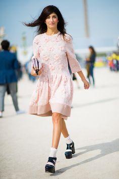 Light pink dress, ruffled socks, and black platform shoes