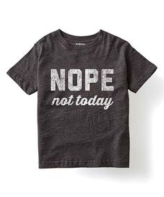 Heather Charcoal 'Nope Not Today' Tee - Kids