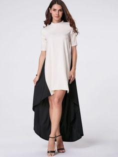 High Neck Color Block High-Low Maxi Dress