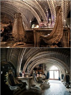 Giger Bar, Hr Giger, Conquest Of Paradise, Alien Covenant Concept Art, Giger Alien, Museum Exhibition Design, Evil Art, Alien Art, Installation Art