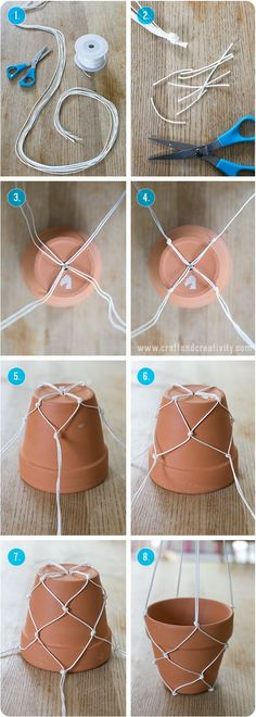 macetero colgante con cuerda