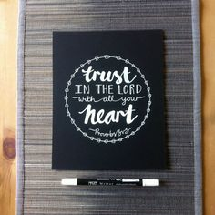Now on my etsy shop: Handwritten chalkboard bible verse 'Trust in the Lord with all your heart' Proverbs 3:5