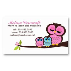 Mom and Baby Owls Calling Cards Business Card