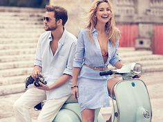 Exclusive Photo: Kate Hudson's Latest Ann Taylor Ad Stars the Most Perfect Shirtdress and a Hot Guy on a Vespa | People.com