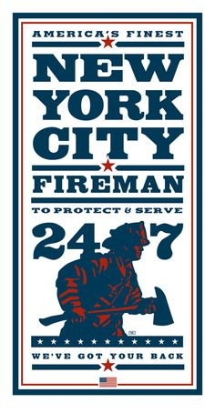 "Poster art by Ted Wright Illustration & Design to honor the New York City Firefighters. 24"" x 40"" print on 300lb Strathmore white paper stock."