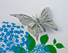 Vintage Brooch/Pin  Blue and Silver Butterfly by ConstantlyAlice, $12.00