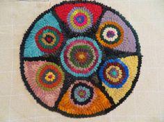 "Hand-hooked Primitive hooked rug 9"" in diameter JulieMayfieldHome on Etsy, $45.00"