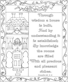 Proverbs 24: 3-4 Bible coloring page NKJV