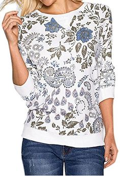 AEETE Women's Long Sleeve Floral Printed Shirt Casual Blouses Tops White L -- Awesome products selected by Anna Churchill Discount Clothing, White Tops, Casual Shirts, Floral Prints, T Shirts For Women, Pullover, Crewneck Sweater, Fashion Outfits, Sweatshirts