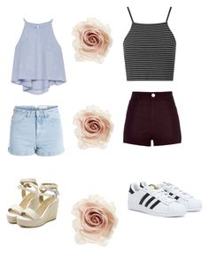 """""""2 tenue avec un short taille haute ♡"""" by milafashion-35 ❤ liked on Polyvore featuring Zara, Pieces, Topshop, River Island, adidas and Cara"""