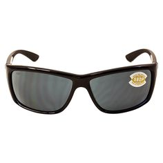 Costa Del Mar men's Mag Bay polarized plastic grey mirror lens shiny black frame sunglasses is manufactured from high-quality lightweight . Costa Sunglasses, Sports Sunglasses, Black Sunglasses, Rectangle Shape, Life Is An Adventure, Sunglass Frames, Signature Logo, Black And Grey, Gray