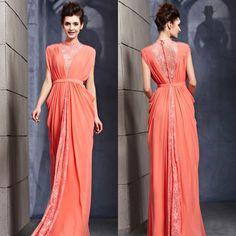 chiffon elegante design laço cor coral com faixa de comprimento de mãe de noiva do casamento de praia vestido-Vestidos & saias XL-ID do prod...