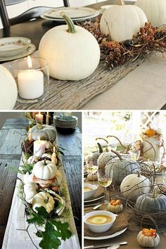 White pumpkins + neutral decor.