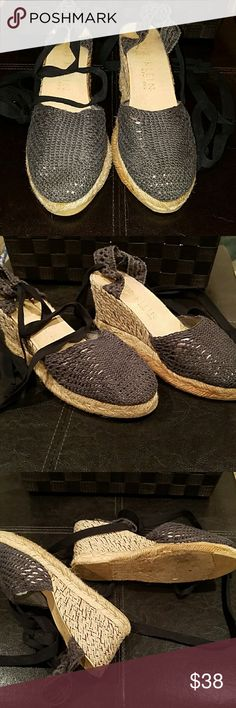 Anne Klein wedge espadrilles These are a dark gray charcoal color espadrille wedge. The heel has some Shimmer in it. The style is crochet I think. Delicate fun summer shoe. Anne Klein Shoes Wedges