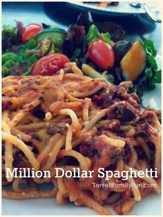 Million Dollar Spaghetti Recipe: Made this tonight for us and for a friend (new baby) I doubled the recipe and used half beef, half bulk sausage. Everyone LOVED it! Highly suggest it!