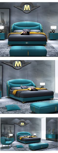 Blue Luxury Leather Double Bed, Nordic Scandinavian Style - Blue Luxury Leather Double Bed, Nordic Scandinavian Style Interior design ideas for small homes in low budget Luxury Bedroom Furniture, Master Bedroom Interior, Luxury Bedroom Design, Bedroom Bed Design, Bed Furniture, Modern Bedroom, Interior Design, Bedroom Ideas, Sofa Design