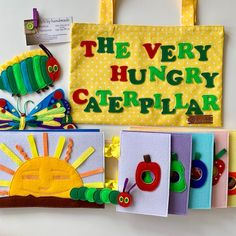 Super felt book The Very Hungry Caterpillar with bag for children includes pages with holes: Moon Sun Apple 2 pears 3 plums 4 strawberries 5 oranges Chocolate cakes and other food Leaf and cocoon Butterfly Tiny caterpillar Fat caterpillar Yellow Cotton bag with inscription The Very hungry Caterpillar Book, Hungry Caterpillar Party, Eric Carle, Felt Fruit, Felt Fish, Toddler Boy Gifts, Felt Gifts, Butterfly Gifts, Sensory Toys