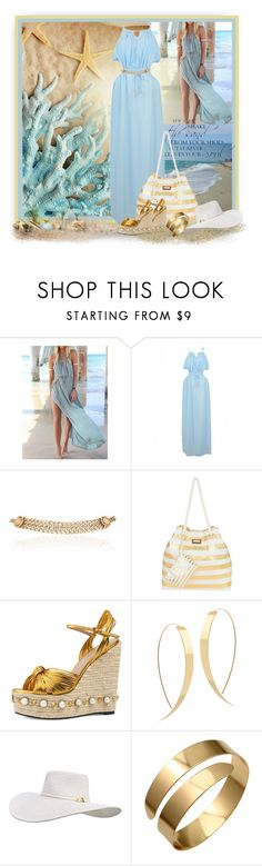 """""""Beach Blue and Gold"""" by loveroses123 ❤ liked on Polyvore featuring WithChic, Maison Mayle, Sun N' Sand, Gucci, Lana, Melissa Odabash and Q&Q"""