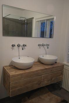 Badkamermeubel zwevend van steigerhout met 2 lades naast elkaar (51220131130)