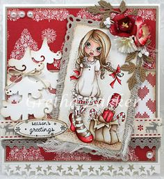 This stunning card from Gretha Bakker uses a lovely Christmas image from Saturated Canary called 'Christmas Nutcracker'. So beautifully coloured and such gorgeous papers and layout, love it!