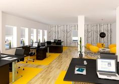 Desk clusters with lounge area. Office Design