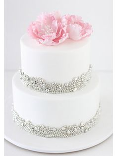 2 Tier White Cake with Bling and Peonies - From Sharon Wee Creations - See more at: www.sharonwee.com.au