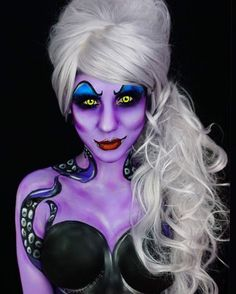 WEBSTA @ twistinbangs - ✨glam ursula!✨ i painted ursula when i first started doing bodypaint but this one is way better  timelapse coming soon!P R O D U C T S!- @mehronmakeup's paradise AQ bodypaints- @urbandecaycosmetics's electric palette for the shadowing- wig from amazon, not sure where i got these contact lenses!