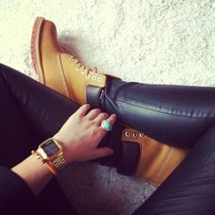Tims + black leather --- matched with  gold watch = classic look if you can work it
