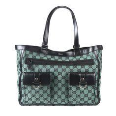 Gucci Canvas Leather Trimmed Black & Green Tote Handbag Shoulder Bag - http://excellent-handbags.storopa.com/gucci-canvas-leather-trimmed-black-green-tote-handbag-shoulder-bag/
