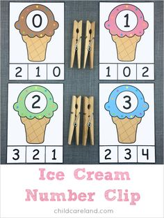 ice cream number clip for number recognition and fine motor development.