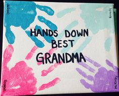 Fun canvas art to make with kids.  They love to have there hands painted. Great to give to your Grandma, Grandpa, Mom, Dad, etc. Great to give for Mothers Day, Birthday, Fathers's Day, etc.
