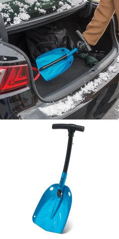"""The Emergency Metal Snow Shovel. This is the rugged metal show shovel that retracts for unobtrusive storage in a trunk and helps you dig a car out of the snow. The shovel's shaft telescopes from 17"""" to 30"""" and locks into place, providing ideal leverage for removing wet, heavy snow from around tires or from under the carriage."""