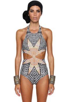$29.99 Flower Chevron Print Cut out One-piece Swimwear