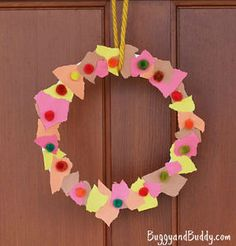 Even toddlers can help with this Scrap Paper Autumn Wreath! | AllFreeKidsCrafts.com