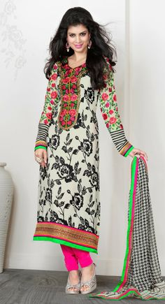 Supercool Off White Crepe Silk #Salwar Kameez