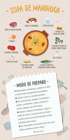 Receita de sopa de mandioca simples e cremosa - Soup Recipes, Cooking Recipes, Healthy Recipes, Comidas Fitness, Menu Dieta, Guacamole Recipe, Diet Meal Plans, Food Illustrations, Food Items