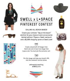 "Calling all beach babes! Create your ultimate ""day at the beach"" wishlist for your chance to win an exclusive limited edition L*Space x Swell swimsuit and a $1,000 shopping spree at Swell.com! 1. Create a board with 10 images from Swell.com and at least one image from Lspace.com. Must pin exclusive suit (Chloe Top & Estella Bottom in Positano). 2. Pin this image and copy your board's URL into the comments section below.  #thewateriswaiting #SWELLivin ** Winner selected Monday, 4/27."